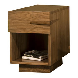Tucker Furniture - Sideways End Table - Sleek handles make for easy, one-handed opening of the drawer. A big, open cubby gives plenty of storage for magazines, books and decorative accessories. Use with Sideways coffee table and TV credenza or mix with other pieces for a modern eclectic look. Features: -Solid wood framing and decorative elements.-Made in the USA.-Solid hardwood plywood construction.-Durable catalyzed wood finish protects wood from water, wine, food, hand lotion, and most household products.-Sideways collection.-Collection: Sideways collection.-Distressed: No.-Powder Coated Finish: No.-Gloss Finish: No.-Base Material: Hardwood plywood.-Top Material: Hardwood plywood.-Solid Wood Construction: Yes.-Number of Items Included: 1.-Nesting Tables: No.-Non-Toxic: Yes.-UV Resistant: Yes.-Scratch Resistant: Yes.-Weather Resistant or Weatherproof: Not weather resistant.-Water Resistant or Waterproof: Water resistant.-Stain Resistant: Yes.-Lift Top: No.-Storage Under Table Top: No.-Drop Leaf Top: No.-Magazine Rack: No.-Built In Clock: No.-Drawers Included: Yes -Number of Drawers: 1.-Drawer Glide Material: Metal.-Drawer Glide Extension: 0.75 Extension glides.-Ball Bearing Glides: Yes.-Soft Close Drawer Glides: Yes.-Safety Stop : Yes.-Joinery Type: Pocket screws, glue and wood reinforcing blocks.-Drawer Handle Design: Finger pull..-Exterior Shelves: No.-Cabinets Included: No.-Glass Component: No.-Legs Included: No.-Casters: No.-Lighted: No.-Stackable: No.-Reclaimed Wood: No.-Adjustable Height: No.-Outdoor Use: No.-Weight Capacity: 200 lbs.-Swatch Available: Yes.-Commercial Use: Yes.-Recycled Content: No.-Eco-Friendly: Yes.-Product Care: Wipe with soft cotton cloth.-Country of Manufacture: United States.-Built In Outlets: No.-Powered: No.Specifications: -FSC Certified: Yes.-EPP Compliant: No.-CARB Compliant: No.-ISTA 3A Certified: No.-ISTA 1A Certified: No.-General Conformity Certificate: No.-Green Guard Certified: No.-ISO 9000 Certified: No.-ISO 14000 Certified: N