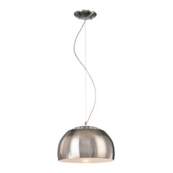 George Kovacs - P861 Pendant - P861 Pendant features a dome shape with outer finish in Brushed Nickel and inside finish in White.  One 150 watt 120 volt A19 incandescent lamp not included.  13 inch diameter x 15 inch high shade.  Maximum overall height 78 inches.  UL listed.