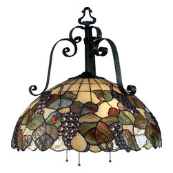ELK Lighting - ELK Lighting 785-AI Harvest 3 Light Chandeliers in Antique Iron - Hand-hammered iron accents provide a textural element on the Harvest Collection, where a bounty of fruit and vines abound on art glass Tiffany shades. The ironwork is finished in our Antique Iron (AI) finish.