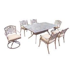 Oakland Living - 7-Pc Outdoor Dining Set - Includes one dining table, four arm dining and two swivel rocker chairs with cushions. Boat shaped table. Metal hardware. Fade, chip and crack resistant. Umbrella hole. Traditional lattice pattern and scroll work. Warranty: One year limited. Made from rust free cast aluminum. Antique bronze hardened powder coat finish. Minimal assembly required. Table: 70 in. L x 38 in. W x 29 in. H (75 lbs.). Arm chair: 21.5 in. W x 23 in. D x 34 in. H (27 lbs.). Swivel rocker chair: 23 in. W x 17.5 in. D x 38 in. H (33 lbs.)This 7 pc Table dining set is the prefect piece for any outdoor dinner setting. Just the right size for any backyard or patio. The Oakland Mississippi Collection combines southern style and modern designs giving you a rich addition to any outdoor setting. Each piece is hand cast and finished for the highest quality possible.