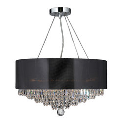 "Worldwide Lighting - Gatsby 8-Light Chrome Finish and Crystal Chandelier 20"" Black Acrylic Drum Shade - This stunning 8-light chandelier only uses the best quality material and workmanship ensuring a beautiful heirloom quality piece. Featuring a radiant chrome finish and acrylic black drum shade over finely cut premium grade 30% full lead crystals, this chandelier will any room sparkle and glamour. Worldwide Lighting Corporation is a privately owned manufacturer of high quality crystal chandeliers, pendants, surface mounts, sconces and custom decorative lighting products for the residential, hospitality and commercial building markets. Our high quality crystals meet all standards of perfection, possessing lead oxide of 30% that is above industry standards and can be seen in prestigious homes, hotels, restaurants, casinos, and churches across the country. Our mission is to enhance your lighting needs with exceptional quality fixtures at a reasonable price."