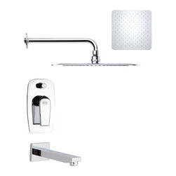 Remer - Contemporary Polished Chrome Square Tub and Rain Shower Faucet - Single function tub and shower faucet.
