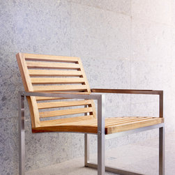 Outdoor Furniture Collection - Lennox dining armchair with Teak inlay and Stainless steel frame