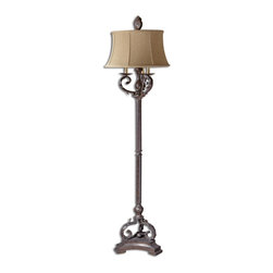 Uttermost - Hope Rustic Bronze Floor Lamp - This  rustic  floor  lamp  is  crafted  out  of  antiqued  bronze  metal  and  has  sculpted  leaf  designs  with  ivory  candlesticks.  This  Hope  floor  lamp  is  sure  to  be  a  favorite  in  your  home  decor.  To  see  more  of  our  rustic  lighting  options,  click  here.