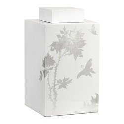 "IMAX - Meshaw Large Lidded Jar - A brilliant white lacquered finish with a delicate silver leaf floral pattern give the Mershaw lidded jar an elegant yet bold presence. Item Dimensions: (10.75""h x 5.5""w x 8.5"")"