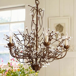 Camilla 6-Arm Chandelier - This beautiful chandelier combines branches, leaves and crystals with an aged brass finish.
