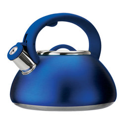 EPOCA - Avalon 2.5 Qt. Whistling Kettle (Seamless Bottom) - Matte Blue - The Avalon Whistling Tea Kettle is constructed out of quality stainless steel and holds up to 2.5 quarts of liquid. The stay-cool handle is soft to the touch. The kettle whistles to signal when your water is boiling. The Avalon 2.5 Whistling Kettle is available in Bushed Stainless Steel, Matte Teal, Matte Blue and Matte Red, making them a great kitchen accent to suit any decor.