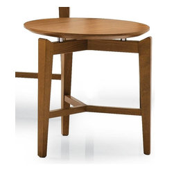 Calligaris - Symbol Round Wooden End Table - Wooden coffee table with a round top and three-leg frame suitable for living areas. Owes its distinctive look to the top which appears to be suspended above the frame. Assembly required. 15.75 in. W x 15.75 in. D x 15.75 in. H