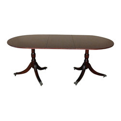 Antiques - Vintage English Mahogany Oval Pedestal Dining Table - Country of Origin: England