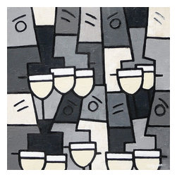 "White Wine With Friends, Original, Painting - ""Painted in shades of grey cream & black tones bounded by black lines, a deeply textured piece in Simon's unique style, a stunning work of abstract art for any home. Depicting people drinking wine together, in this case, white wine, and of course having fun too.  This wonderful abstract will make a fantastic focal point for any modern interior design. """
