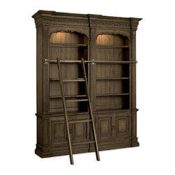 Hooker Furniture - Rhapsody Double Bookcase - With Ladder and Rail - White glove, in-home delivery included!  Furniture assembly included!  The groundbreaking Rhapsody Collection brings together classic design elements, grand scale, and a relaxed rustic finish to create an impassioned marriage of casual opulence.  Exuberant scale and serpentine shapes infuse the pieces with emotion, while timeless motifs like scrolls, rope twist molding, the acanthus leaf and fleur de lis anchor Rhapsody in old world charm.  Building on the grand scale and classic European design is the defining element of the collection: a walnut-colored finish inspired by the natural, yet rustic, nature of reclaimed woods in beautiful patinas.  Two sets of doors with one adjustable shelf behind each, two adjustable wood-framed glass shelves, six adjustable shelves, two lights controlled by a three-intensity touch switch.