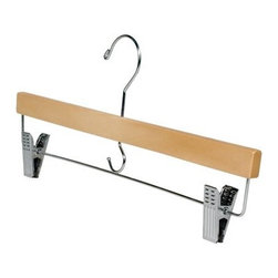 Richards Homewares - Women's Skirt Hanger Set of 5 Wooden Hangers - Natural finish imperial skirt hangers give your closet the organization and space that you need. Securely holds your skirts or slacks without having to worry about creases or wrinkles. The elegant natural finish is a great way to keep the closet organized. Use for trousers, slacks or skirts. Each hanger has a set of metal clamps with durable metal mechanisms. Don't spend money senselessly on dry cleaning, just to have the clothes end up in a wrinkled heap on the dirty closet floor.