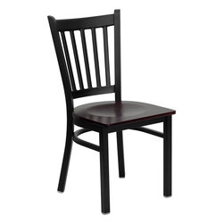 Flash Furniture - Hercules Series Black Vertical Back Metal Restaurant Chair With Seat - Provide your customers with the ultimate dining experience by offering great food, service and attractive furnishings. This heavy duty commercial metal chair is ideal for Restaurants, Hotels, Bars, Lounges, and in the Home. Whether you are setting up a new facility or in need of a upgrade this attractive chair will complement any environment. This metal chair is lightweight and will make it easy to move around. For added comfort this chair is comfortably padded in vinyl upholstery. This easy to clean chair will complement any environment to fill the void in your decor.