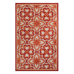 Jaipur Rugs - Moroccan Pattern Polyester Red/Orange Indoor-Outdoor Area Rug ( 2x3 ) - These Catalina rugs will add a pop to any outdoor space with its rich inspiration from Moroccan trellis and tile patterns.