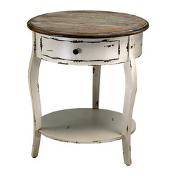 Cyan Design Abelard Side Table in Distressed White & Gray Finish - These white and gray wood tables are available as a 2-level side table (pictured here) or a wider console variety.