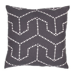 """Jaipur Rugs - Handmade Cotton & Flax Black/Ivory/White (18""""x18"""") Pillow - Japiko cotton based pillow with designs influenced by Japanese textiles.  Designs are applied by used of dimensional paint and a stencil."""