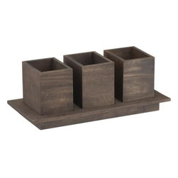 Plateau Flatware Caddy - Straightforward caddy gets stylish boost in clean shapes of beautifully grained mango wood. Three removable boxes nest in recessed pedestal tray to house knives, forks and spoons for easy access on the buffet.