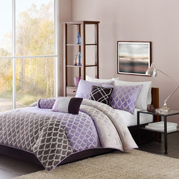 Madison Park - Madison Park Bayer 7 Piece Comforter Set - Update your space to a contemporary look with the Madison Park Bayer Comforter Set. This beautiful set is made from polyester jacquard and features an ombre effect with the silvery purple fading into a lavendar and then into a deep plum. The sham corresponds to this ombre featuring the silvery purple fading into the lavendar. Three decorative pillows Comforter & Sham: 100% polyester jacquard with 100% polyester brushed fabric back, 270g/m2 poly fill Bedskirt: 100% polyoni fabric drop, poly platform Pillow: 100% polyester polyoni poly fill