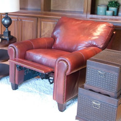 Garret 2-Piece Set Top Grain Leather Reclining Chairs in Sienna