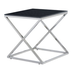 Allan Copley Designs - Allan Copley Designs Excel Square End Table with Black Glass Top - The Excel Collection by Allan Copley designs affords your living room a gracefulness and fascination by its interesting stand. This modern polished Stainless steel Inch X inch shaped frame with black glass top, is a uniquely refined and functionally designed collection that is sure to be the envy of your friends. Striking in design and expertly crafted, this collection simply oozes chic. The Excel Collection includes Rectangular Cocktail, Square End and Console Table in Black glass tops.