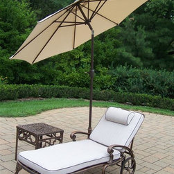 Oakland Living - 3-Pc Outdoor Lightweight Chaise Lounge Set - Includes chaise lounge with cushion, side table and 9 ft. tilting umbrella with stand. Metal hardware. Fade, chip and crack resistant. Warranty: One year limited. Made from rust free cast aluminum. Antique bronze hardened powder coat finish. Minimal assembly required. End table: 17.5 in. W x 17.5 in. D x 19 in. H (15 lbs.). Chaise: 71 in. W x 25.5 in. D x 35 in. H (68 lbs.). Overall weight: 158 lbs.This Chaise lounger set will be a beautiful addition to your patio, balcony or outdoor entertainment area. Our Chaise lounger sets are perfect for any small space, or to accent a larger space. We recommend that the products be covered to protect them when not in use. To preserve the beauty and finish of the metal products, we recommend applying an epoxy clear coat once a year. However, because of the nature of iron it will eventually rust when exposed to the elements. The Oakland Elite Collection combines old world charm and modern designs giving you a rich addition to any outdoor setting. The traditional lattice pattern is crisp and stylish. Each piece is hand cast and finished for the highest quality possible.