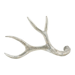 Arteriors - Desoto Sculpture, Goldberg, Small - This cast resin antler sculpture is finished in silver leaf.