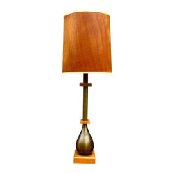 "Pre-owned Paul Hanson Mid-Century Modern Table Lamp - This is an amazing table lamp from the glam style of the late 1950's. Curated from a Long Island New York estate, this lamp could tell some stories. Beautifully balanced, wood base and accents with pewter body and gorgeous teak shade. In excellent vintage condition with some minor scuff marks on the shade consistent with age.    8' Cord.   Height is 43"" with shade."
