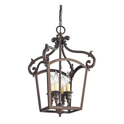 "Murray Feiss - Iron Murray Feiss Luminary 11 3/4"" Wide Bronze Mini Chandelier - The Luminary collection features bright transitional style designs that are a wonderful refreshment of traditional lighting styles. This oil-rubbed bronze mini chandelier features an open cage frame design with a cluster of four classic candelabra style lights in the center. From Murray Feiss the design is timeless and alluring. Oil-rubbed bronze finish. Mini chandelier design by Murray Feiss. Takes four maximum 60 watt candelabra bulbs (not included). Includes 6 feet chain 8 feet lead wire. 19 1/2"" high. 11 3/4"" wide. Overall 97 1/2"" maximum hanging height. Canopy is 5"" wide. Hang weight 5 lbs.  Oil-rubbed bronze finish.  Mini chandelier design by Feiss.  Takes four maximum 60 watt candelabra bulbs (not included).  Includes 6 feet chain 8 feet lead wire.  19 1/2"" high.  11 3/4"" wide.  Overall 97 1/2"" maximum hanging height.  Canopy is 5"" wide.  Hang weight 5 lbs."