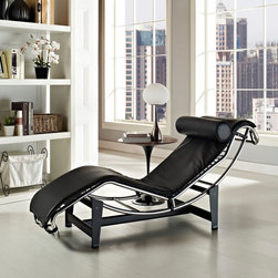 Modway - Modway LC4 Leather Chaise - Black - EEI-129-BLK - Shop for Chaises from Hayneedle.com! Lounge in true mid-century style with the iconic look of the Modway LC4 Leather Chaise - Black. The classic Le Corbusier design features a sleek stainless steel base and unique recognizable shape. The supple black leather upholstery makes it an elegant piece in any space.About ModwayModway designs and manufactures modern classic furniture pieces for the contemporary home. The quality pieces are fresh and elegant with a distinctively updated appeal. Simple clean lines and a vibrant selection of colors and finishes make these pieces perfect for the home or office. A wide selection of products include pieces for the living room dining room bar office and outdoors. High-quality and innovative designs make Modway the premier company for luxurious modern style.