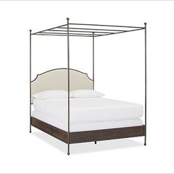 "Aberdeen Metal & Upolstered Headboard Canopy Bed, Full, Bronze finish - Create your own comfort zone. Crafted with clean, symmetrical posts and rails, this canopy bed has graceful style that works in harmony with its sturdy construction. The iron frame is hand welded for strength, and detailed with finials. Headboard panel upholstered in an oatmeal linen/cotton blend and thickly padded. Designed to be used with a box spring. Features a brushed, matte bronze finish. Made in America. Full: 55"" wide x 79"" long x 90"" high Queen: 61"" wide x 85"" long x 90"" high King: 79"" wide x 85"" long x 90"" high Cal. King: 73"" wide x 89"" long x 90"" high View our {{link path='pages/popups/fb-bedroom.html' class='popup' width='480' height='300'}}Furniture Brochure{{/link}}."