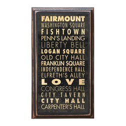 """CrestField - City of Philadelphia Points of Interest Decorative Vintage Style Wall Plaque - This vintage style wall plaque is hand made to commemorate the wonderful city of Philadelphia. The pine board has a quarter round routed edge and is sized at 7.25"""" x 13"""" x .75"""". The surface is finished with my """"flatter than satin"""" poly finish with a saw tooth hanger on the back. Would look great in any decoration project, home or office."""