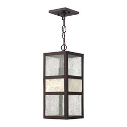 Hinkley Lighting - Sierra Hanger Outdoor - Sierra's transitional style has an organic elegance with a natural stone centerpiece and panels of clear seedy glass. The solid aluminum construction in a Spanish Bronze finish completes its chic style.