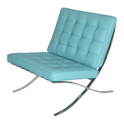 Catalan Chair in Baby Blue - Upholstered with 100% Italian leather and perched atop brushed stainless steel legs, this chair is the ultimate in elegant style. Soft and comfortable, you�۪ll love relaxing in this chair every day.