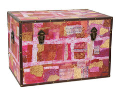 Oriental Furniture - Avant-Garde Collage Trunk - A stunning collage reproduced exclusively from the original work adorns this beautiful trunk. Combining luxurious floral prints with flowing Chinese script and gorgeous fabrics, this careful selection of materials draws the viewer in to its compelling textural blend of shapes and colors. This stunning design has been printed on art-quality canvas, wrapped around a sturdy wooden frame, and reinforced on the edges with matching faux leather and rivets. Lightweight and durable with two separate handles, this trunk is hassle-free to move, and you can rest easy knowing that your treasures are protected in its spacious interior by the soft fabric lining. Other conveniences include an inconspicuous interior arm that holds the lid when you need the trunk open, and a pair of external closures that keep it shut tight when you don't. This fetching chest is perfect as a colorful accent to your home decor.