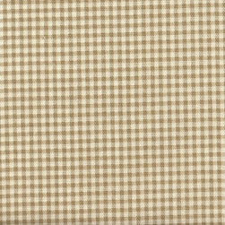 "Close to Custom Linens - 15"" Bedskirt Gathered Beige Gingham - A charming traditional gingham check in linen beige on a cream background.  Gathered with 1  1/2 to 1 fullness, split corners and a 15"" drop.  Cotton/poly platform."