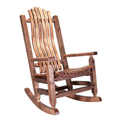 Montana Woodworks - Montana Woodworks Homestead Adult Rocking Chair in Stained and Lacquered - From Montana Woodworks, the largest manufacturer of handcrafted quality log furnishings in America comes the all new Homestead Collection line of furniture products. Handcrafted in the mountains of Montana using solid, American grown wood, the artisans rough saw all the timbers and accessory trim pieces for a look uniquely reminiscent of the timber-framed homes once found on the American frontier. This cozy rocking chair will ease your worries away with it's gentle back and forth motion. Ergonomically designed and built to ensure hours of comfortable use, it is also designed and built to last for generations; truly an heirloom quality piece. You will be delighted with the artistry and the quality materials of this chair; your granddaughter can rock her child to sleep just as you rocked her mother years before. Comes fully assembled. 20-year limited warranty included at no additional charge.