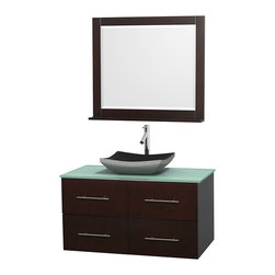 "Wyndham Collection - Centra 42"" Espresso Single Vanity, Green Glass Top, Altair Black Granite Sink - Simplicity and elegance combine in the perfect lines of the Centra vanity by the Wyndham Collection. If cutting-edge contemporary design is your style then the Centra vanity is for you - modern, chic and built to last a lifetime. Available with green glass, pure white man-made stone, ivory marble or white carrera marble counters, with stunning vessel or undermount sink(s) and matching mirror(s). Featuring soft close door hinges, drawer glides, and meticulously finished with brushed chrome hardware. The attention to detail on this beautiful vanity is second to none."