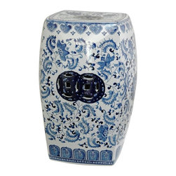 "Oriental Furniture - 18"" Square Floral Blue & White Porcelain Garden Stool - Curved square Chinese porcelain garden stool in a Ming blue and white classic floral pattern. Features pierced double medallions on the sides and flat top. Intended for indoor use only, sized just right for use as a stool, stand or occasional table. Display in pairs as alternative end tables or a coffee table."