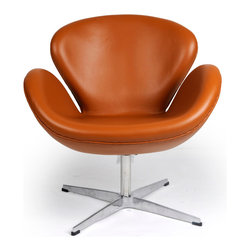 Kardiel Swan Chair, Caramel Aniline Leather - The Swan Chair was originally designed in 1958 by Danish designer and architect Arne Jacobsen for use throughout the Amsterdam Royal Hotel. The Swan Chair is an example of a classic furniture design inspired by the movement to adapt organic forms into our interior spaces. Appropriate to its name, the chair resembles an artful representation of the largest native North American bird, the trumpeter swan. The Swan Chairs distinguished shape was created by omitting all straight lines from its design curved surfaces. The elegant shape is generous for lounging yet has an minimal airy appearance. This chair is not made by Fritz Hansen. We have no affiliation with Fritz Hansen. The swan chair is the perfect choice for a seating option when you want to incorporate into your spaces a modern classic organic flowing shape. This classic icon is not only a work of art, it is minimal in design, adding a single chair to an existing group or grouping several chairs together easily creates an interestin