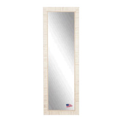 Rayne Mirrors - American Made Tuscan Ivory 25 x 63 Full Body Mirror - This Tuscan inspired floor mirror features a weathered ivory wood block overlay design and inner scroll detailing.  Aged & distressed like you've owned it for years.   Each Rayne mirror is hand crafted and made to order with American products.  All hardware included for vertical or horizontal hanging, or perfect to lean against a wall.