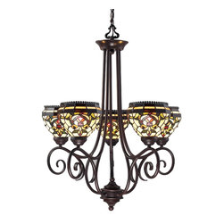 Z-Lite - Z-Lite Z34-5 Traditional Classic 5 Light Single Tier Up Lighting Chandelier With - The Templeton tiffany family showcases dome shaped shades which display a motif in greens and amber with red accents on a pale cream background.