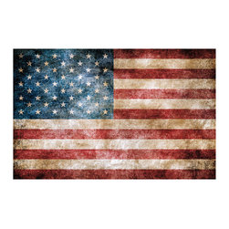 RoomMates - Vintage American Flag Peel and Stick Giant Wall Decals - Display the patriotic colors of the USA with this peel and stick vintage American flag. You can decorate for a holiday in seconds or leave the decal up year-round! The removable and repositionable wall decal is reusable, and can be moved around several times without any damage or residue. Great for party decorating or display in a living space!