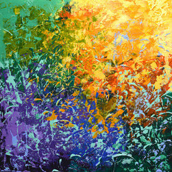 """Party On The Patio (Original) by Linda Bailey - This painting is from my 'Celebration of Life' series. It is an original one of a kind painting created with acrylic paint on a gallery wrapped canvas. The canvas depth is 1-1/2"""" and the edges have been painted the same colors as the painting. This piece is ready for frame-free hanging. If you prefer to do so, this painting can be framed."""