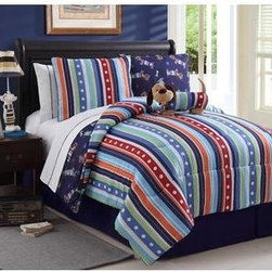Bedding - Reversible Leo Bed in a Bag Multi-Color Bed Set with sheets. Machine Washable/ 100% Polyester