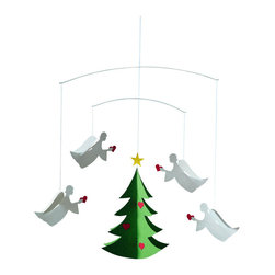 Flensted Mobiles - Angels of Love Mobile - Deck the halls. A choir of angels trim a gently spinning Christmas tree with ornaments shaped like dainty red hearts. It's the perfect way for you to share a message of love this holiday season.