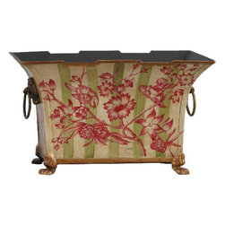 Oriental Danny - Hand-Painted Planter - Add a welcome shot of color to your decor with this exquisite planter box. The fuchsia flowers and birds pop against the background of the light green stripes. Hand-painted on aluminum tin, the unique container transforms your simple bouquet into a stunning centerpiece.