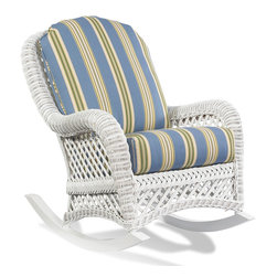 WickerParadise - White Wicker Rocker - Lanai - This quaint, white wicker rocker wants to take you back to a slower time, when it was normal to lean back and let your thoughts drift away with the afternoon. It's strong and sturdy, with a high back and thick cushions, so you can settle in for some serious daydreaming. Perfect for the nursery, lanai, or any sunny, quiet room.
