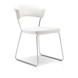 Modloft - Modloft Delancy Dining Chair - Black [Set of 2] - Ultra-modern Dining Chair in White reconstitued leather upholstery belongs to Delancy Collection by LOFT Series from Modloft The ultra-modern Delancy dining chair brings a stylish flair into your dining room. A cool combination of steel frame and white reconstituted leather upholstery, this dining chair is aesthetically balanced with originality and ergonomic design. Chair measures 19W x 20D x 30H with a seat height of 19 in. Sold as pair only. Dining Chair (2)