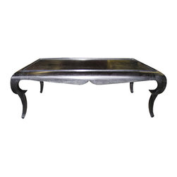 Rena Coffee Table - Hand Rubbed Black - The superb Rena Coffee Table finishes a living space with the surprising curves and dramatic bows of antique styling, but a fundamentally practical rectangular top for holding cocktails, coffee-table books, and tablescapes on a generous surface. A doubly-curved apron provides a Spanish flair to this traditional cocktail table, while the exaggerated ogees of the tapering square legs add a baroque impression to its low-slung grandeur.