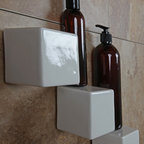 Bathroom Niche & Shelf Store - New shower shelf idea, Little Square shelf, 3x3.  Can be mounted at end of my longer modern square shelf. The gap between can hold a wash cloth.  Mark Daniels Remodeling